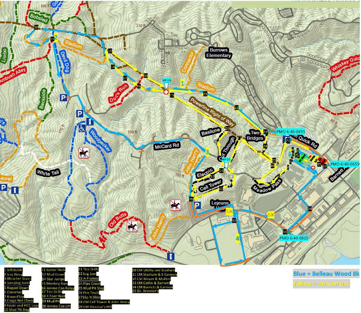 Belleau Wood 8K Run Amuck combined map