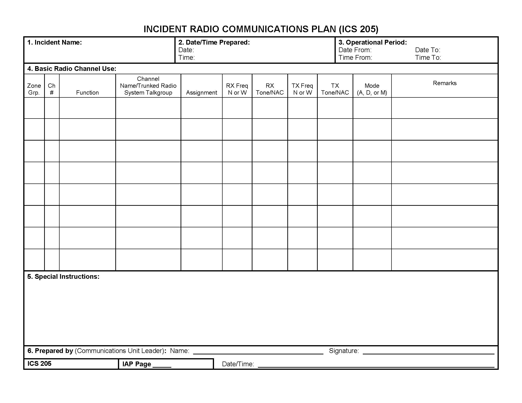 ICS 205 Radio Communications Plan